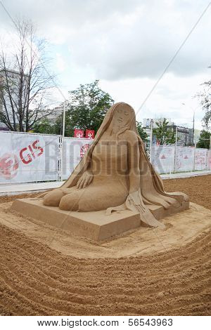 Perm - June 10: Sand Sculpture Coco Chanel At Festival White Nights, On June 10, 2012 In Perm, Russi