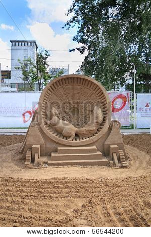 Perm - June 10: Sand Sculpture Squirrel In Cage At Festival White Nights, On June 10, 2012 In Perm,