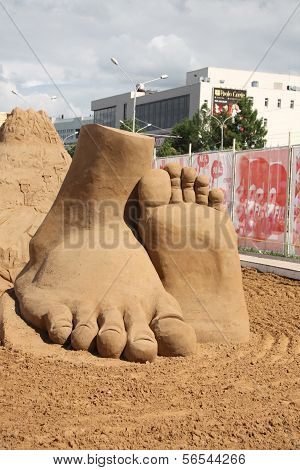 Perm - June 10: Sand Sculpture Feet At Festival White Nights, On June 10, 2012 In Perm, Russia.