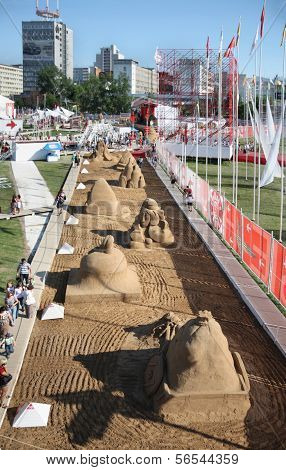 Perm - June 7: Above View To Sand Sculptures At Festival White Nights, On June 7, 2012 In Perm, Russ