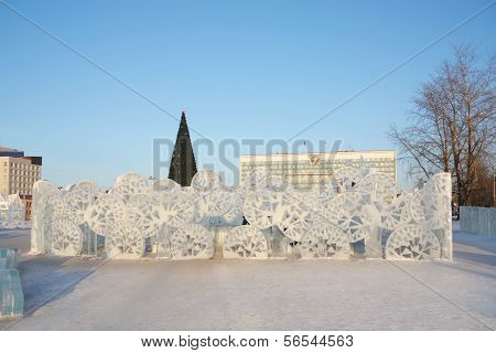 Perm - February 17: Stylish Trees In Ice Town, On February 17, 2012 In Perm, Russia. During Winter H