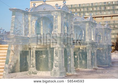 Perm - February 17: Palace In Ice Town, On February 17, 2012 In Perm, Russia. In Winter 2011-2012 Ic