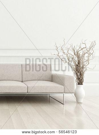 renderização 3D de moderno sofá bege no interior sala branca