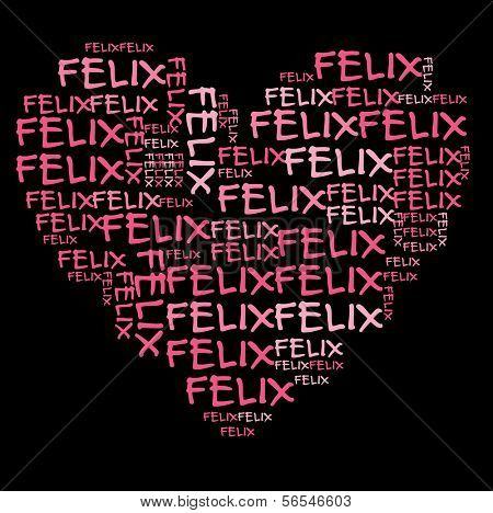 Felix word cloud in pink letters against black background