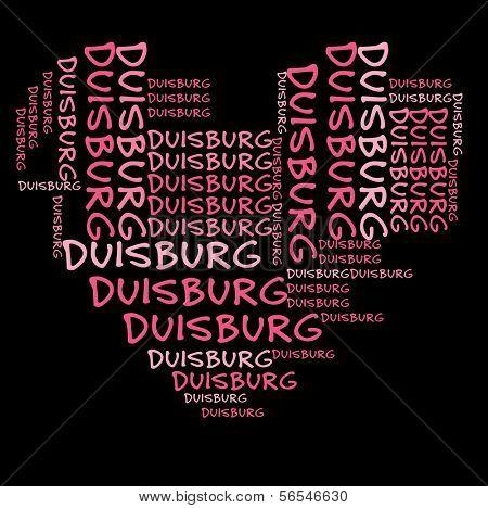 Nube de palabra Duisburg en letras color rosa sobre fondo negro