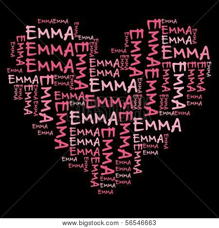Emma word cloud in pink letters against black background