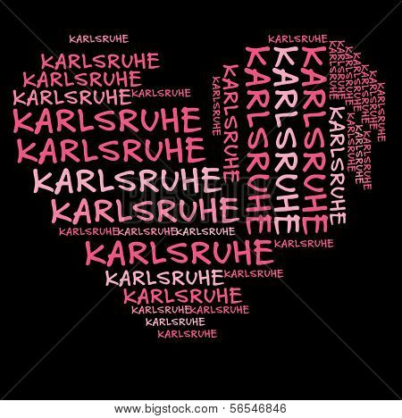 Karlsruhe word cloud in pink letters against black background