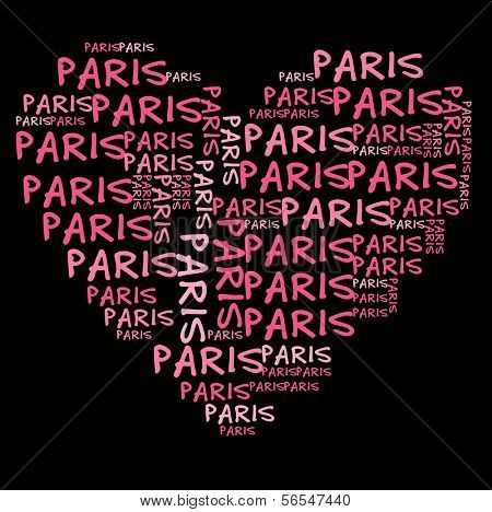 Paris word cloud in pink letters against black background