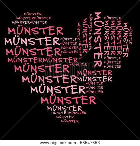 Munster word cloud in pink letters against black background