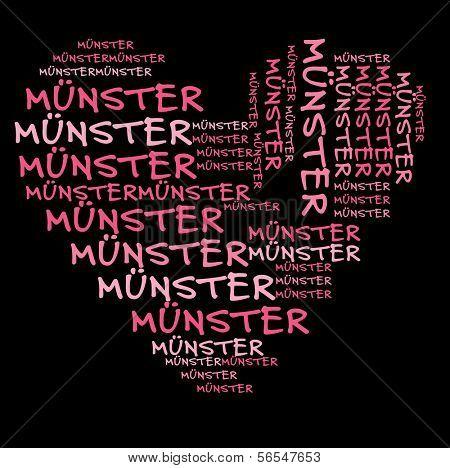 Nuvem de palavra Munster em letras rosa contra o fundo preto