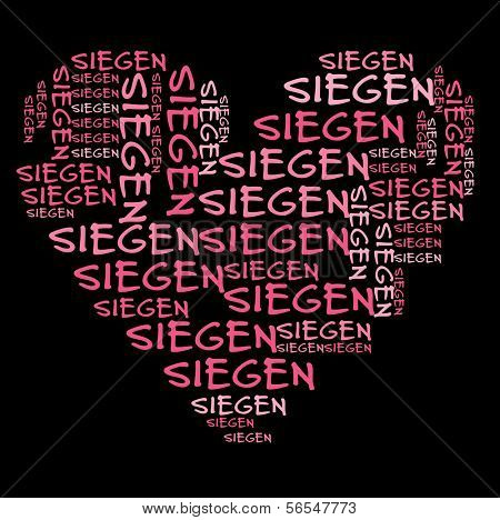 Siegen word cloud in pink letters against black background