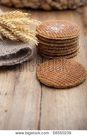 Round Waffle Cakes With Ears Of Wheat