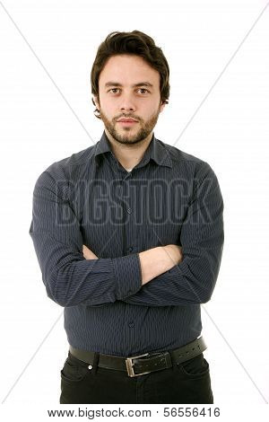 Young Casual Man Portrait In A White Background