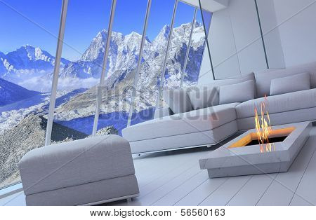 3D rendering of loft apartment interior with spectacular mountain view.