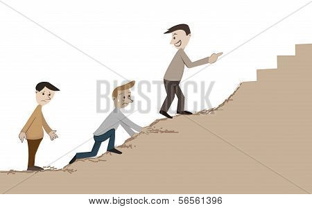 Man Climbing To The Hill  By Rough Way