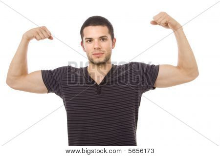 Portrait Of Young Atletic Man, Isolated On White