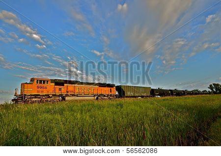 BNSF Freight Train in the Prairie