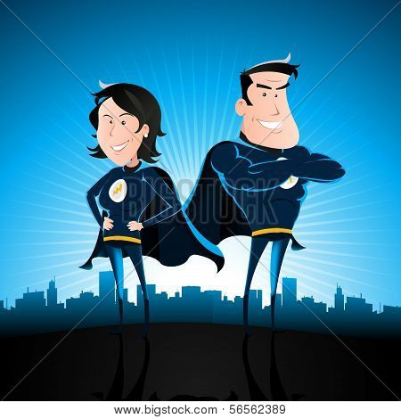 Blue Superhero Man And Woman