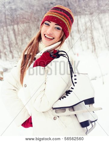 Beautiful young woman smiling happily.