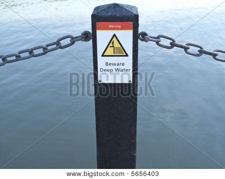 Warning-beware Deep Water Sign