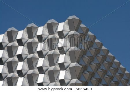 Modern Business Building In Dresden, Germany. Fragment Of Facade.