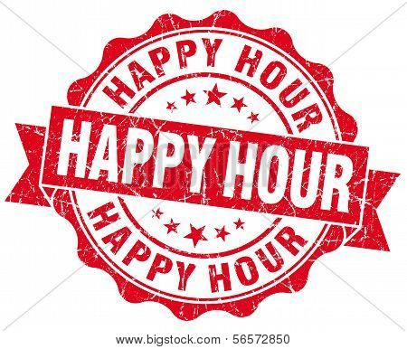 Happy Hour Red Grunge Seal Isolated On White Background