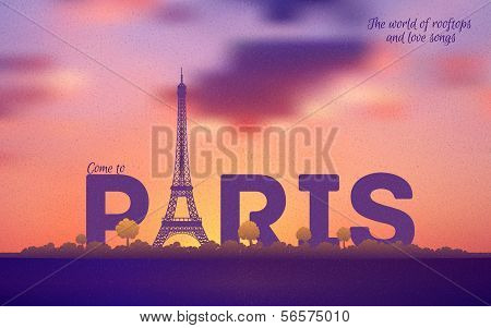 Typographical Paris Retro Style Poster