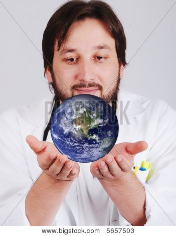 Young Man With Beard And Earth Beside Him