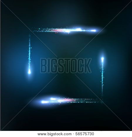 Vector frame formed by lights and sparkles