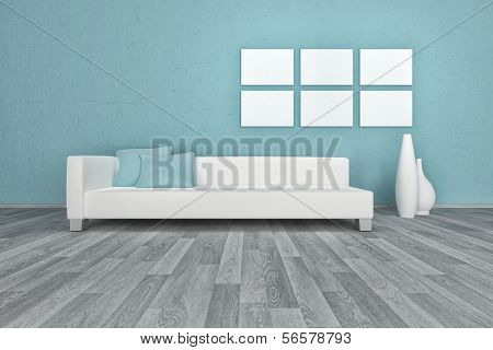 3D rendering of apartment interior white coach against blue wall
