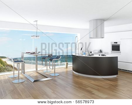 Modern luxury kitchen interior with fantastic seascape view