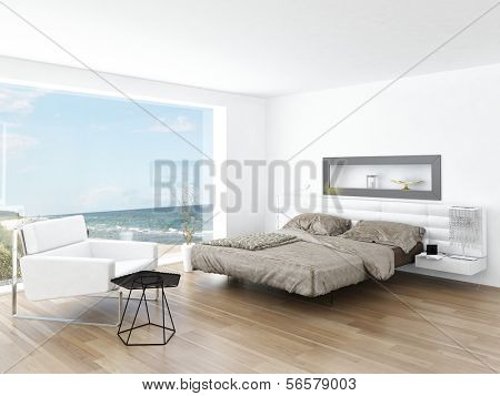 Modernes Design Bedroom Interior mit seelandschaft Blick