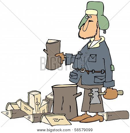 Man splitting firewood