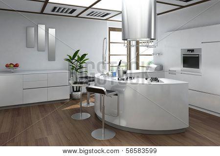 Interior de cocina de lujo moderno con taburete de bar
