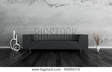 3D rendering of black coach against gray wall.