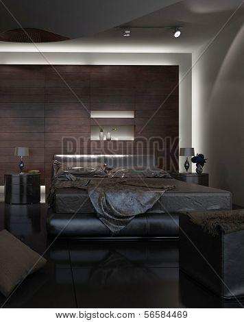 3D rendering of loft apartment interior