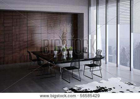 3D rendering of modern dining room interior