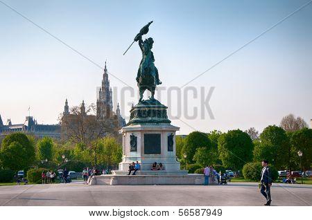 Landmark of Vienna, Austria. Monument to Prince Eugene at Heldenplatz in Vienna, Austria.