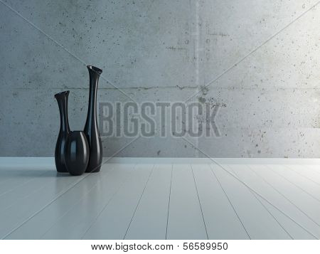 Emtpy room interior with three black vases against concrete wall