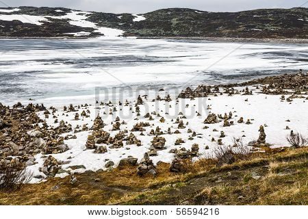 Arctic Landscape In Norway On June