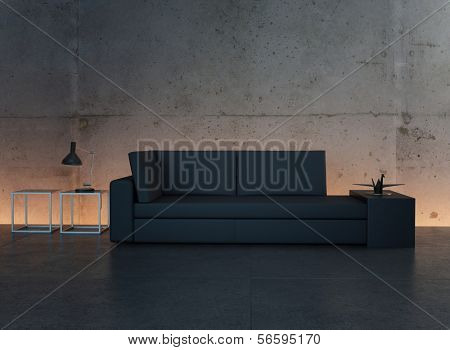 Modern design black couch against illuminated concrete wall