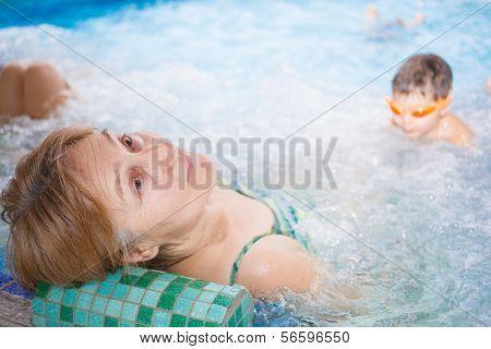 Woman relax in aquapark