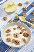 image of walnut  - Greek Yoghurt with honey and walnuts for breakfast - JPG