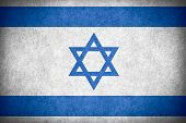 picture of israeli flag  - flag of Israel or Israeli banner on paper rough pattern texture - JPG