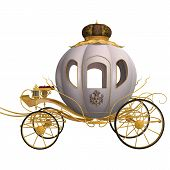 picture of cinderella  - 3D digital render of a beautiful Cinderella cariage isolated on white background - JPG