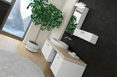 picture of wash-basin  - Bathroom interior with modern wash basin  - JPG