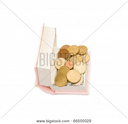 Book And Coin On White Background