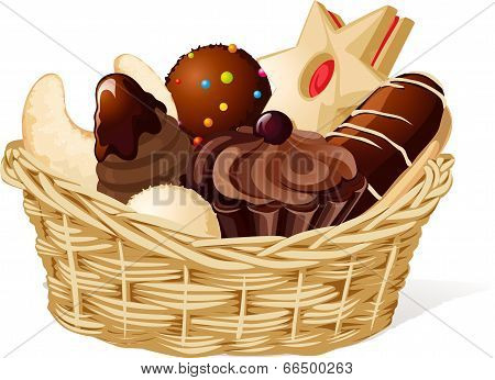 Christmas Still Life With Basket Full Of Cookies Isolated - Vector Illustration