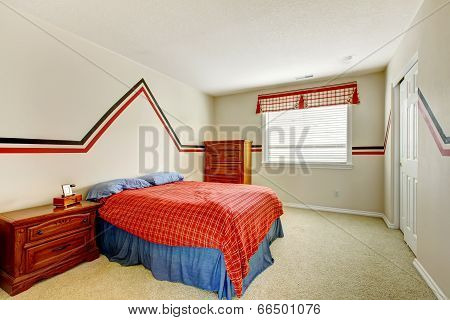 Bedroom With Painted Wall And Bright Colors Bed