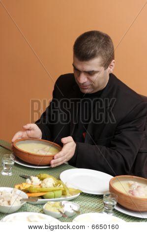 Man Has Early Breakfast
